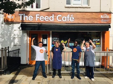 Trainees outside The Feed Cafe