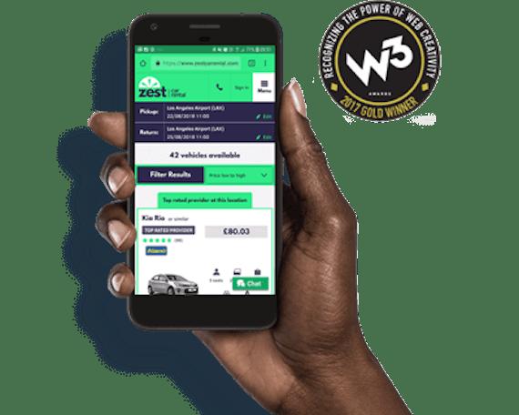 zest car rental website mobile